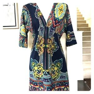 3/4 sleeve floral mini dress